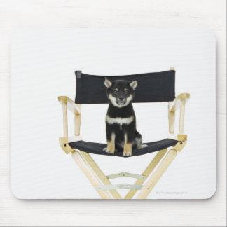 Shiba Inu dog on director's chair Mouse Pad