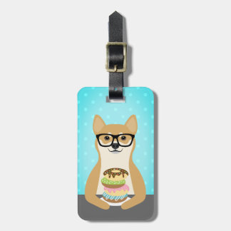 Shiba Inu Eating Stack of Donuts Luggage Tag