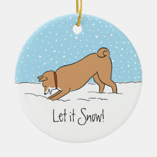 Shiba Inu Let it Snow - Happy Dog Holiday Christmas Ornament