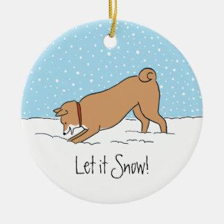 Shiba Inu Let it Snow - Happy Dog Holiday Round Ceramic Decoration