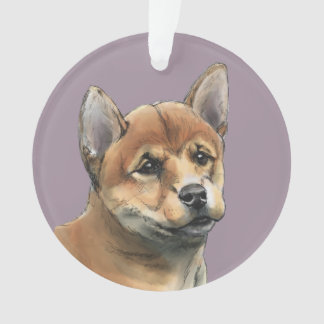 Shiba Inu Puppy Drawing Ornament