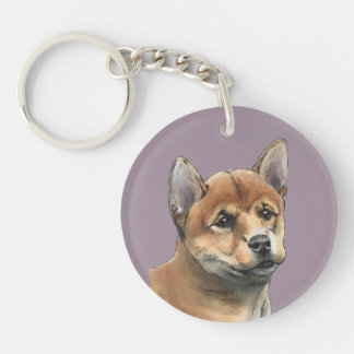 Shiba Inu Puppy Drawing Single-Sided Round Acrylic Key Ring