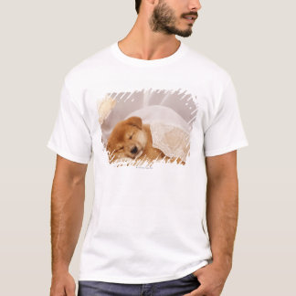 Shiba Inu puppy sleeping under a net curtain T-Shirt