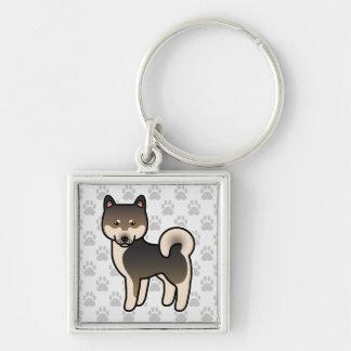 Shiba Inu Sesame Silver-Colored Square Key Ring