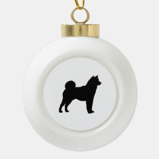 Shiba Inu silo black.png Ceramic Ball Christmas Ornament