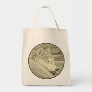 Shiba Inu Tote Bag Organic Dog Art Shopping Bags