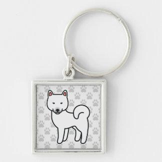 Shiba Inu White Silver-Colored Square Key Ring