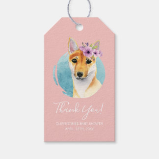 Shiba Inu with Flower Crown | Baby Shower Pink Gift Tags