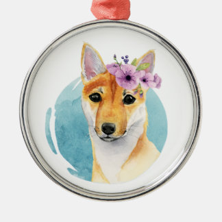 Shiba Inu with Flower Crown Watercolor Painting Christmas Ornament