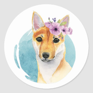Shiba Inu with Flower Crown Watercolor Painting Classic Round Sticker