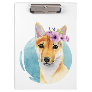 Shiba Inu with Flower Crown Watercolor Painting Clipboard