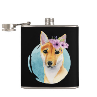 Shiba Inu with Flower Crown Watercolor Painting Hip Flask
