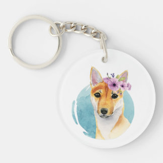 Shiba Inu with Flower Crown Watercolor Painting Key Ring