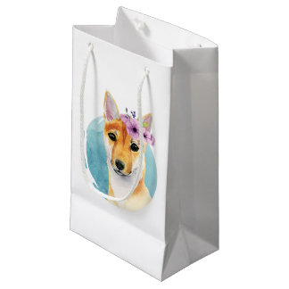 Shiba Inu with Flower Crown Watercolor Painting Small Gift Bag