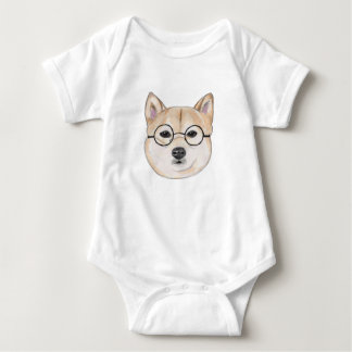 Shiba Inu with Oversized Round Framed Glasses Baby Bodysuit