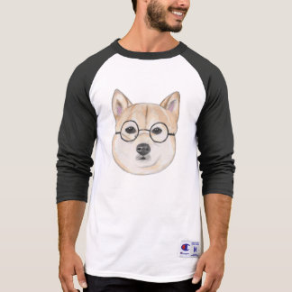 Shiba Inu with Oversized Round Framed Glasses T-Shirt