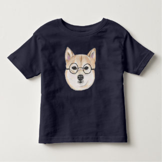 Shiba Inu with Oversized Round Framed Glasses Toddler T-Shirt