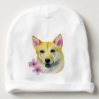 Shiba Inu with Sakura Watercolor Painting Baby Beanie