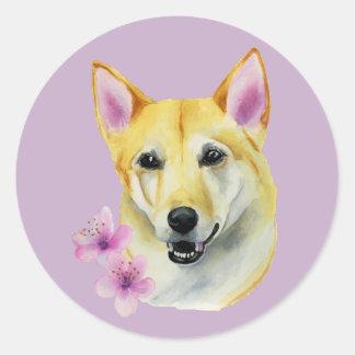 Shiba Inu with Sakura Watercolor Painting Classic Round Sticker
