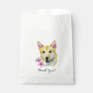 Shiba Inu with Sakura Watercolor Painting Favour Bags