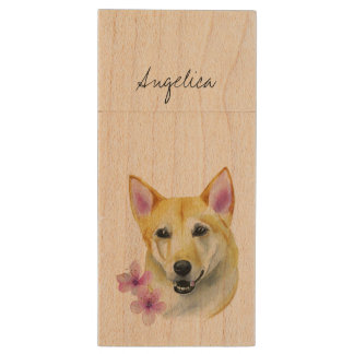 Shiba Inu with Sakura Watercolor Painting Wood USB Flash Drive