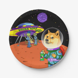 Shibe Doge Astro and the Aliens Memes Cats Cartoon 7 Inch Paper Plate