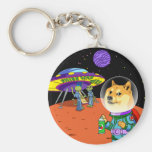 Shibe Doge Astro and the Aliens Memes Cats Cartoon Basic Round Button Key Ring