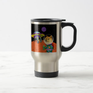 Shibe Doge Astro and the Aliens Memes Cats Cartoon Stainless Steel Travel Mug