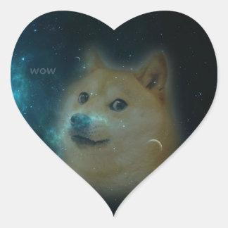 shibe doge in space heart sticker