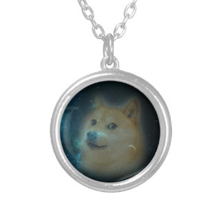 shibe doge in space silver plated necklace