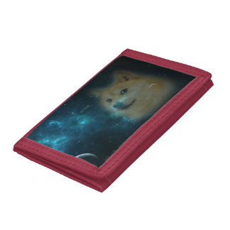 shibe doge in space tri-fold wallet