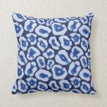 Shibori Blue Leopard Pattern Cushion