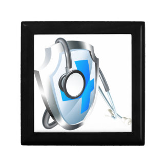 Shield and Stethoscope Medical Concept Gift Box