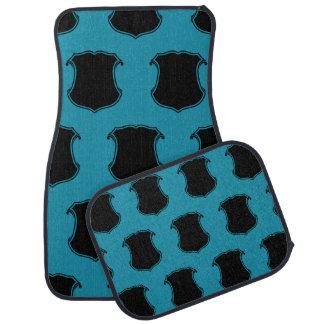Shield Crest Black Blue Floor Mat