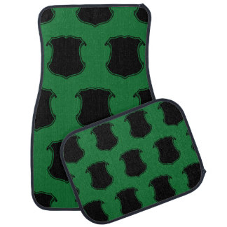 Shield Crest Black Green Floor Mat