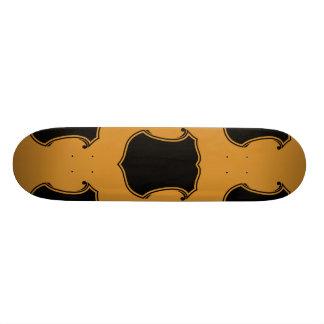Shield Crest Black Orange Skate Board Deck