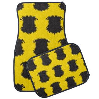 Shield Crest Black Yellow Car Mat