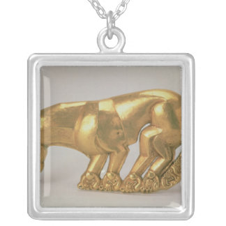 Shield emblem in the form of a panther silver plated necklace