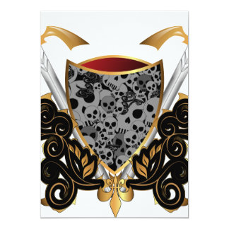 Shield in gold and black with skulls 5x7 paper invitation card