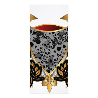 Shield in gold and black with skulls 4x9.25 paper invitation card