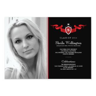 """Shield Photo Graduation Announcement 5"""" X 7"""" Invitation Card"""