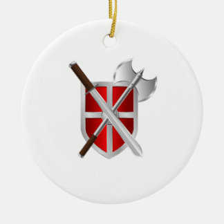 Shield. Sword And Axe Round Ceramic Decoration
