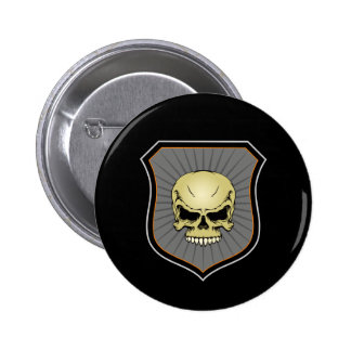 Shield with Skull 6 Cm Round Badge
