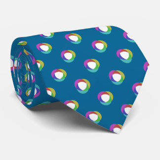 Shifted Pastel Polka Dots Pattern Custom BG Teal Tie