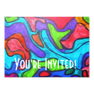 Shifted Squiggles - Modern Abstract Art 13 Cm X 18 Cm Invitation Card