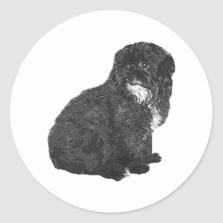 Shih Poo Round Sticker
