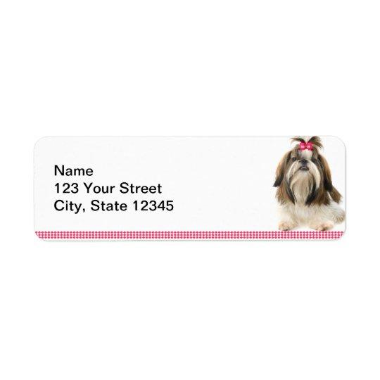 Shih Tsu with Pink Bow on Pink Diamond border Return Address Label