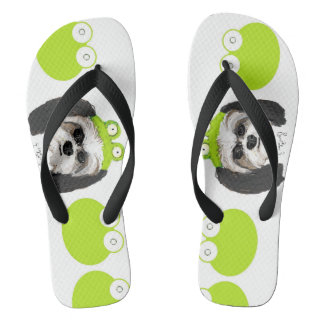 Shih Tzu and Frogs Flip Flops
