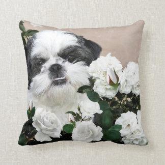 Shih Tzu and roses Cushion