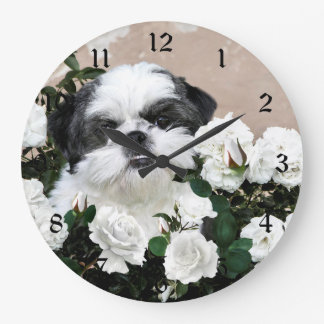 Shih Tzu and roses Large Clock